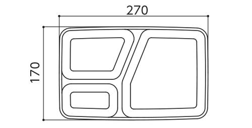 角ランチ皿スタッキング図